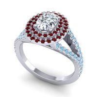 Ornate Oval Halo Dhala Diamond Ring with Garnet and Aquamarine in Platinum