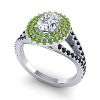 Ornate Oval Halo Dhala Diamond Ring with Peridot and Black Onyx in 18k White Gold