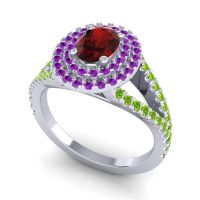 Ornate Oval Halo Dhala Garnet Ring with Amethyst and Peridot in 18k White Gold