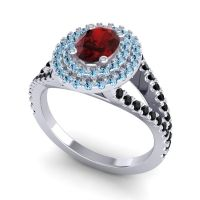 Ornate Oval Halo Dhala Garnet Ring with Aquamarine and Black Onyx in Platinum