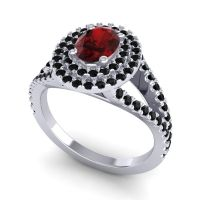 Ornate Oval Halo Dhala Garnet Ring with Black Onyx in 14k White Gold