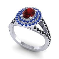 Ornate Oval Halo Dhala Garnet Ring with Blue Sapphire and Black Onyx in 18k White Gold