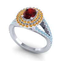 Ornate Oval Halo Dhala Garnet Ring with Citrine and Aquamarine in 18k White Gold