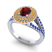 Ornate Oval Halo Dhala Garnet Ring with Citrine and Blue Sapphire in 18k White Gold