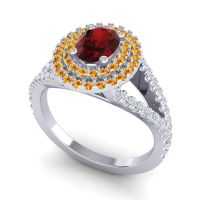 Ornate Oval Halo Dhala Garnet Ring with Citrine and Diamond in Palladium