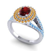Ornate Oval Halo Dhala Garnet Ring with Citrine and Swiss Blue Topaz in Platinum