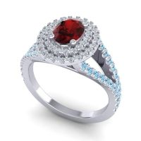 Ornate Oval Halo Dhala Garnet Ring with Diamond and Aquamarine in Platinum