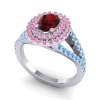 Ornate Oval Halo Dhala Garnet Ring with Pink Tourmaline and Swiss Blue Topaz in 14k White Gold
