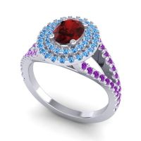 Ornate Oval Halo Dhala Garnet Ring with Swiss Blue Topaz and Amethyst in Platinum