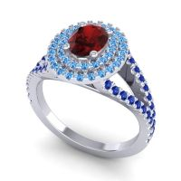 Ornate Oval Halo Dhala Garnet Ring with Swiss Blue Topaz and Blue Sapphire in 14k White Gold