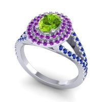 Ornate Oval Halo Dhala Peridot Ring with Amethyst and Blue Sapphire in Platinum