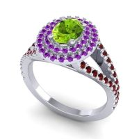 Ornate Oval Halo Dhala Peridot Ring with Amethyst and Garnet in Palladium