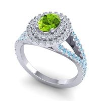 Ornate Oval Halo Dhala Peridot Ring with Diamond and Aquamarine in 14k White Gold