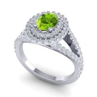 Ornate Oval Halo Dhala Peridot Ring with Diamond in 14k White Gold