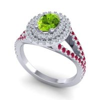 Ornate Oval Halo Dhala Peridot Ring with Diamond and Ruby in 14k White Gold