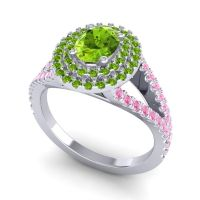 Ornate Oval Halo Dhala Peridot Ring with Pink Tourmaline in 18k White Gold