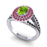 Ornate Oval Halo Dhala Peridot Ring with Ruby and Black Onyx in 14k White Gold