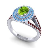 Ornate Oval Halo Dhala Peridot Ring with Swiss Blue Topaz and Garnet in Palladium