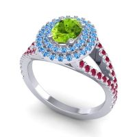 Ornate Oval Halo Dhala Peridot Ring with Swiss Blue Topaz and Ruby in Platinum