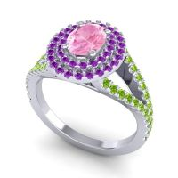 Ornate Oval Halo Dhala Pink Tourmaline Ring with Amethyst and Peridot in Palladium