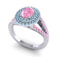 Ornate Oval Halo Dhala Pink Tourmaline Ring with Aquamarine in Palladium