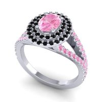 Ornate Oval Halo Dhala Pink Tourmaline Ring with Black Onyx in 14k White Gold