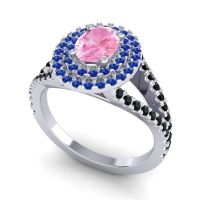 Ornate Oval Halo Dhala Pink Tourmaline Ring with Blue Sapphire and Black Onyx in Palladium