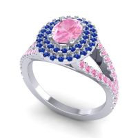 Ornate Oval Halo Dhala Pink Tourmaline Ring with Blue Sapphire in 14k White Gold