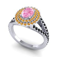 Ornate Oval Halo Dhala Pink Tourmaline Ring with Citrine and Black Onyx in Platinum