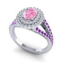 Ornate Oval Halo Dhala Pink Tourmaline Ring with Diamond and Amethyst in 18k White Gold