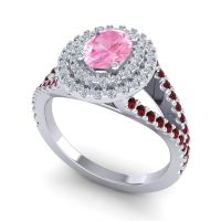 Ornate Oval Halo Dhala Pink Tourmaline Ring with Diamond and Garnet in Palladium