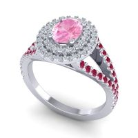 Ornate Oval Halo Dhala Pink Tourmaline Ring with Diamond and Ruby in 14k White Gold