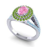 Ornate Oval Halo Dhala Pink Tourmaline Ring with Peridot and Aquamarine in Palladium