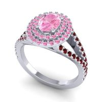 Ornate Oval Halo Dhala Pink Tourmaline Ring with Garnet in Palladium