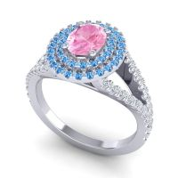 Ornate Oval Halo Dhala Pink Tourmaline Ring with Swiss Blue Topaz and Diamond in 18k White Gold
