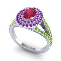 Ornate Oval Halo Dhala Ruby Ring with Amethyst and Peridot in 14k White Gold