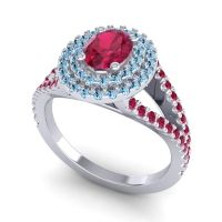 Ornate Oval Halo Dhala Ruby Ring with Aquamarine in Palladium