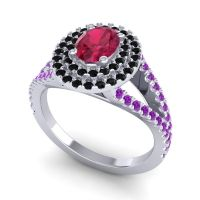 Ornate Oval Halo Dhala Ruby Ring with Black Onyx and Amethyst in Platinum