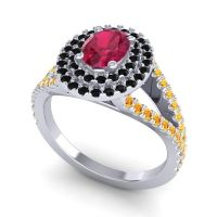 Ornate Oval Halo Dhala Ruby Ring with Black Onyx and Citrine in 14k White Gold