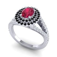 Ornate Oval Halo Dhala Ruby Ring with Black Onyx and Diamond in 18k White Gold