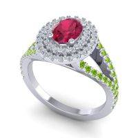 Ornate Oval Halo Dhala Ruby Ring with Diamond and Peridot in Platinum
