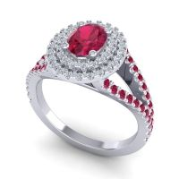 Ornate Oval Halo Dhala Ruby Ring with Diamond in Palladium