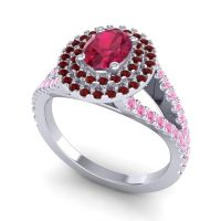 Ornate Oval Halo Dhala Ruby Ring with Garnet and Pink Tourmaline in Platinum