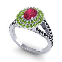 Ornate Oval Halo Dhala Ruby Ring with Peridot and Black Onyx in 18k White Gold