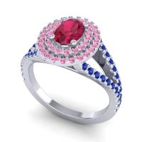 Ornate Oval Halo Dhala Ruby Ring with Pink Tourmaline and Blue Sapphire in 18k White Gold