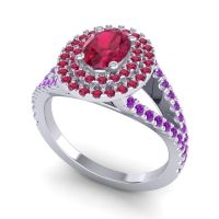 Ornate Oval Halo Dhala Ruby Ring with Amethyst in Platinum