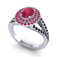 Ornate Oval Halo Dhala Ruby Ring with Black Onyx in Platinum