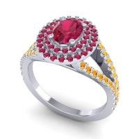 Ornate Oval Halo Dhala Ruby Ring with Citrine in Palladium