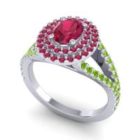 Ornate Oval Halo Dhala Ruby Ring with Peridot in Platinum