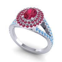 Ornate Oval Halo Dhala Ruby Ring with Swiss Blue Topaz in Platinum